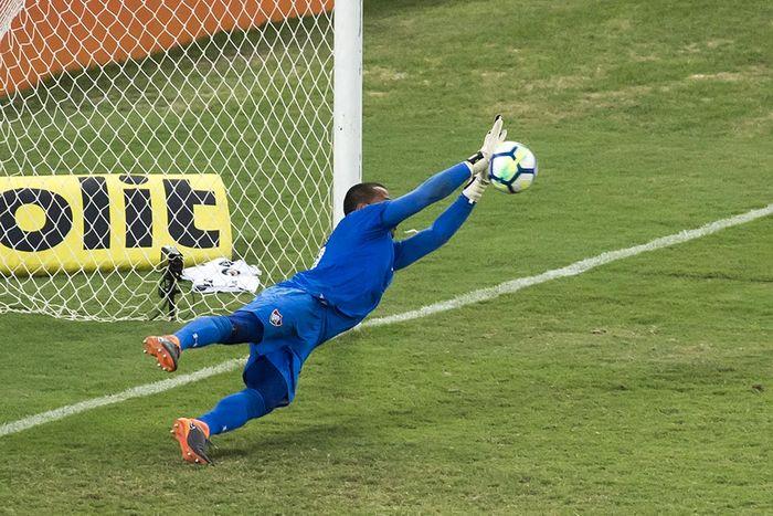 Goleiro Rodolfo defende pênalti durante Fluminense x Botafogo